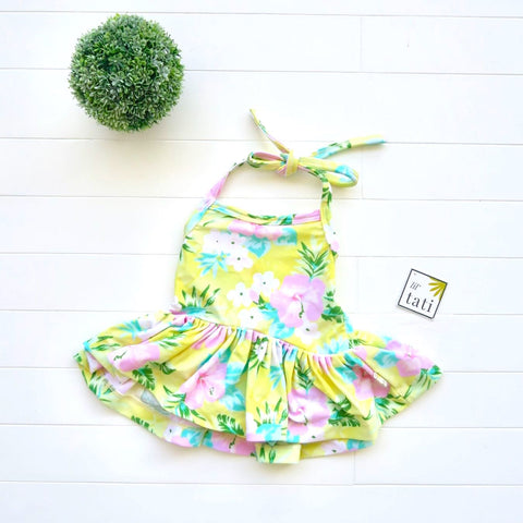 Berry Swimsuit with Tie-Straps in Hawaiian Yellow Print