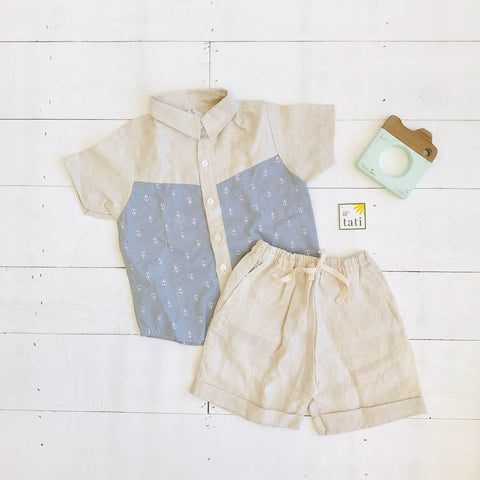 Birch Top & Shorts in Anchor Gray and Beige Linen