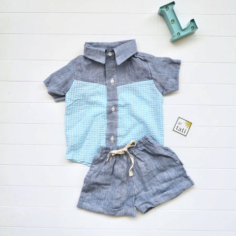 Birch Top & Shorts in Light Blue Seersucker and Dark Blue Linen