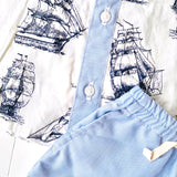 Birch Top & Shorts in Galleon White and Light Blue Pinstripes
