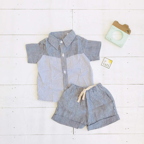 Birch Top & Shorts in Graphite Checkered and Gray Linen