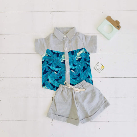 Birch Top & Shorts in Hawaiian Blue Leaves Print & Gray Linen