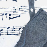 Birch Top & Shorts in Musical Notes White & Gray Linen