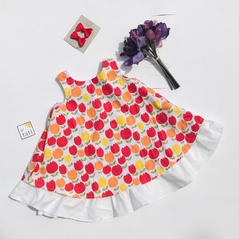 Blossom Dress in Bright Tulips - Lil' Tati