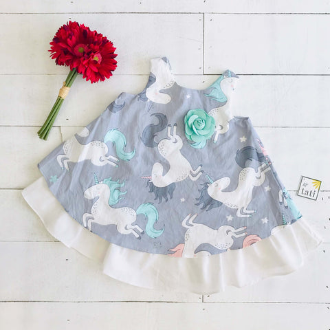 Blossom Dress in Gray Unicorn Print