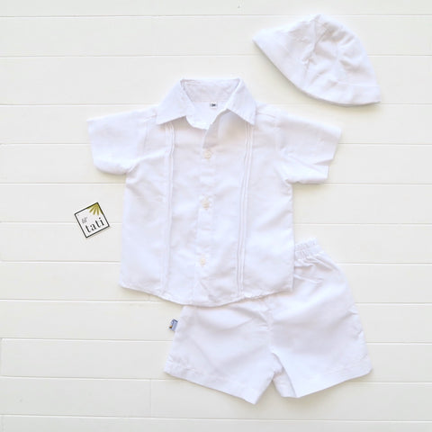 Boys Christening Set - White Pinstripes