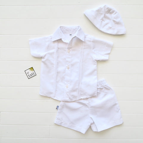 Boys Christening Set - Pinstripes