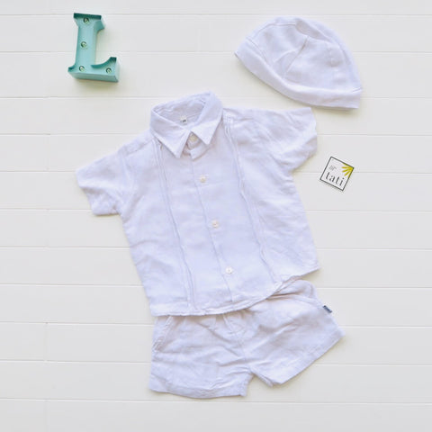Boys Christening Set - White Arrows