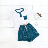 Caper Top & Shorts in Airplane Bluegreen and White Stretch