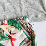 Caper Top & Shorts in Birds of Paradise and Gray Stretch