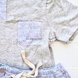 Caper Top & Shorts in Cat Stamp Gray and Gray Stretch