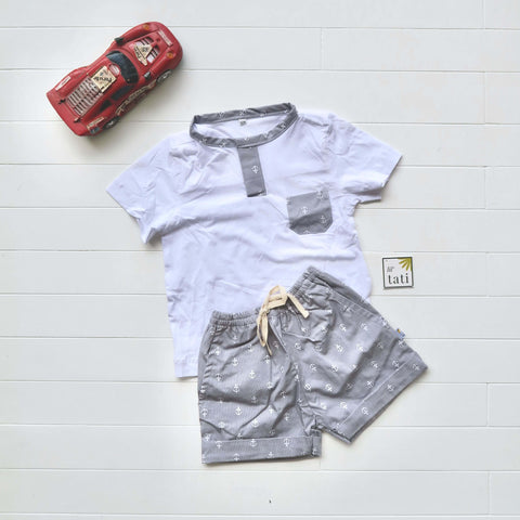 Caper Top & Shorts in Anchor Gray and White Stretch