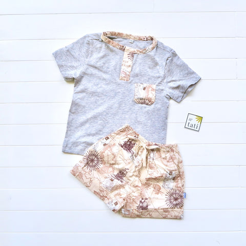 Caper Top & Shorts in Bon Voyage Brown and Gray Stretch