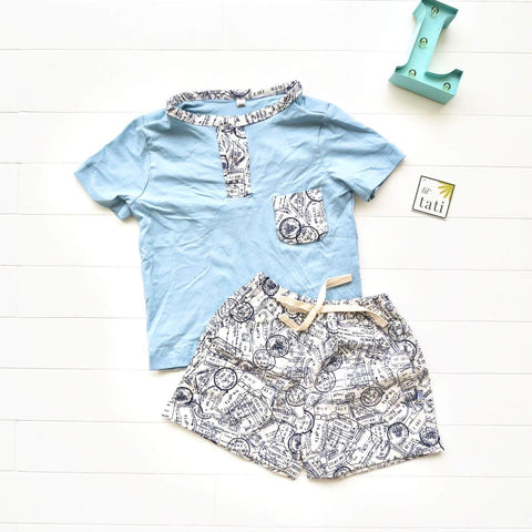 Caper Top & Shorts in Mail Stamps and Light Blue Stretch
