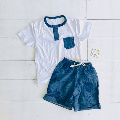 Caper Top & Shorts in Navy Garden and White Stretch