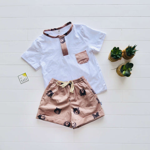 Caper Top & Shorts in White Stretch and Teddy Bear Print