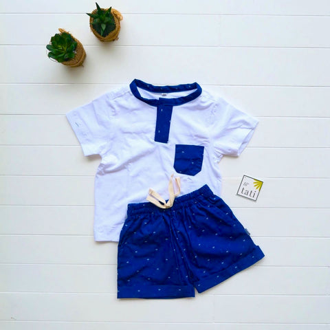 Caper Top & Shorts in Tiny Diamonds Blue and White Stretch