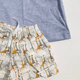 Caper Top & Shorts in Yellow Giraffe