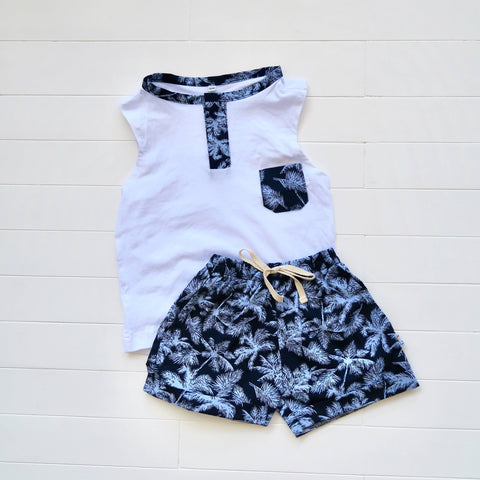 Caper Sleeveless Top & Shorts in Blue Coconut Trees and White Stretch