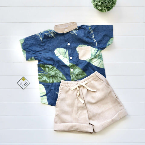 Cedar Top & Shorts in Banana Leaves Navy