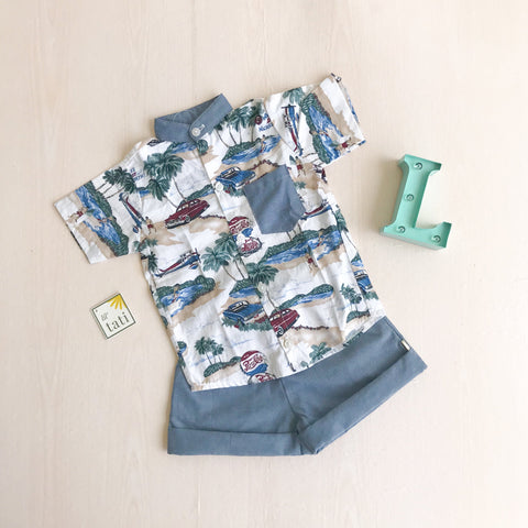 Cedar Top & Shorts in Beach Time Print-Lil' Tati