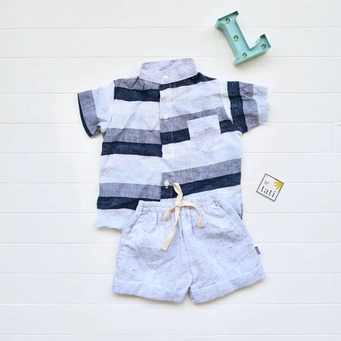 Cedar Top & Shorts in Bold Stripes Blue and Blue Kohibo