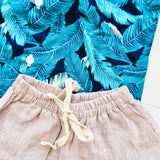 Cedar Top & Shorts in Hawaiian Blue Leaves and Brown Linen