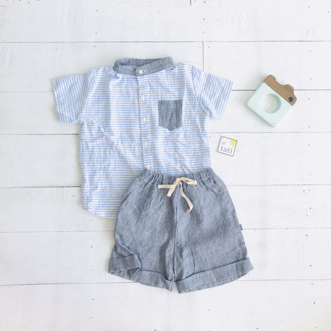 Cedar Top & Shorts in Placid Blue Stripes & Gray Linen