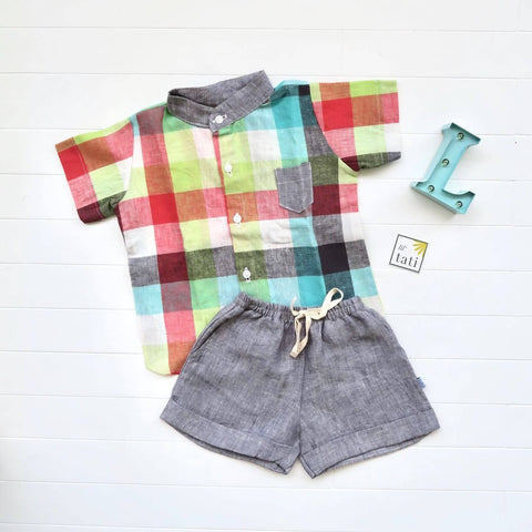 Cedar Top & Shorts in Playful Checkered and Gray Linen