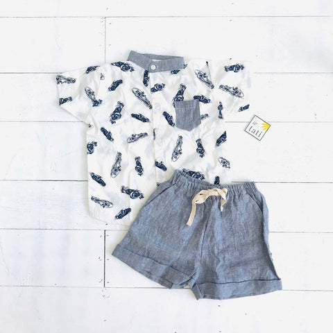 Cedar Top & Shorts in Race Car Print and Gray Linen