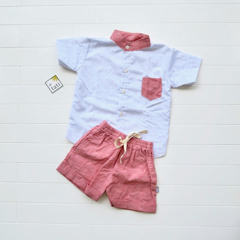 Cedar Top & Shorts in Red Dots on Blue and Red Linen