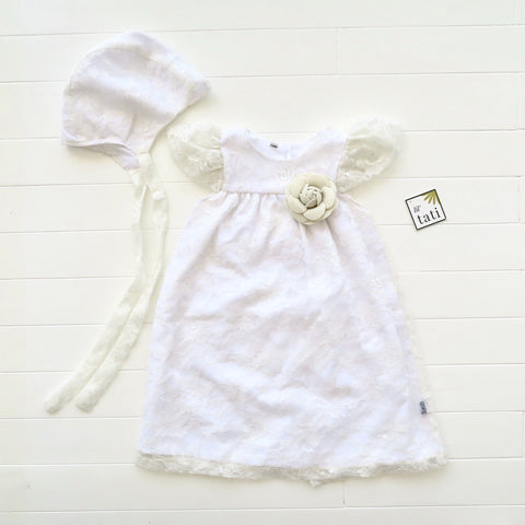 Magnolia Christening Set in Fine Lace Tulle Galaxy White