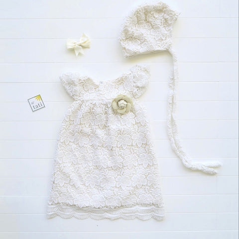Magnolia Christening Set in Flower Line Cotton Lace-Lil' Tati