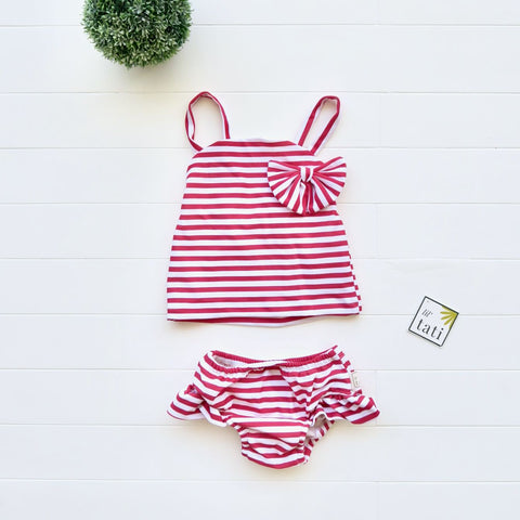 Citrus Swimsuit in Red Stripes Print