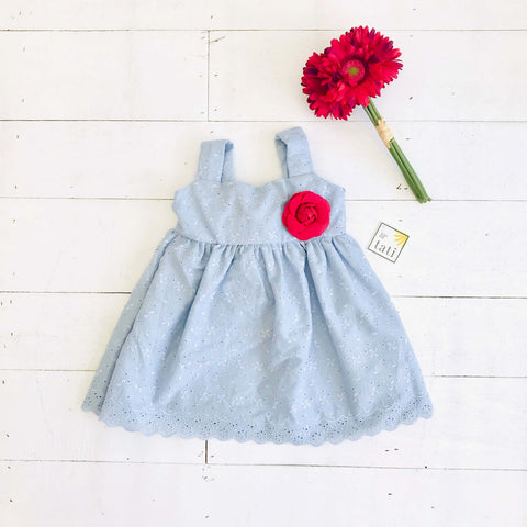 Daffodil Dress in Pastel Blue Eyelet