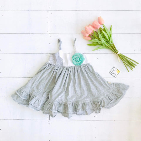 Dahlia Dress in Banana Leaves and Gray Stretch