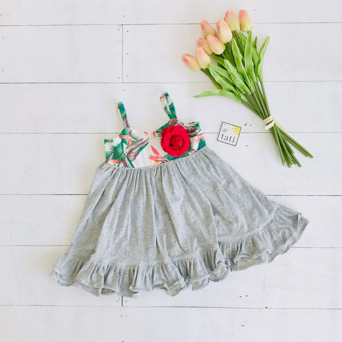 Dahlia Dress in Birds of Paradise and Gray Stretch