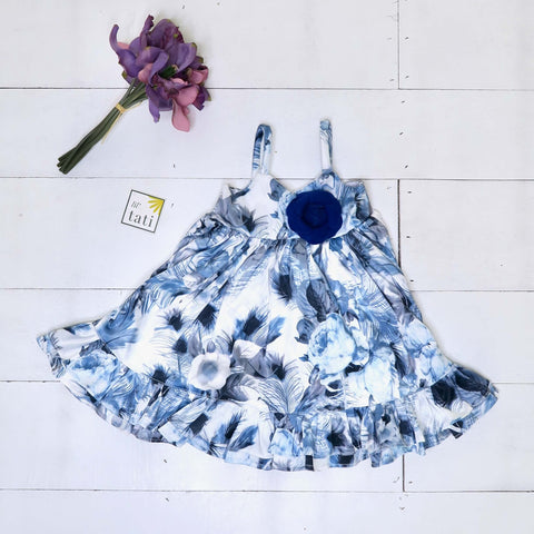 Dahlia Dress in Blue Feather Sateen Print