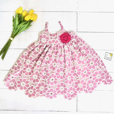 Dahlia Dress in Daisy Pink Embroidery