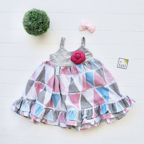 Dahlia Dress in Pink Triangle and Gray Cotton Stretch
