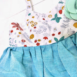 Dahlia Dress in Into the Garden and Teal Linen