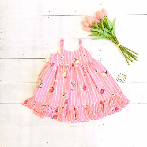 Dahlia Dress in Peach Pink Stripes Print