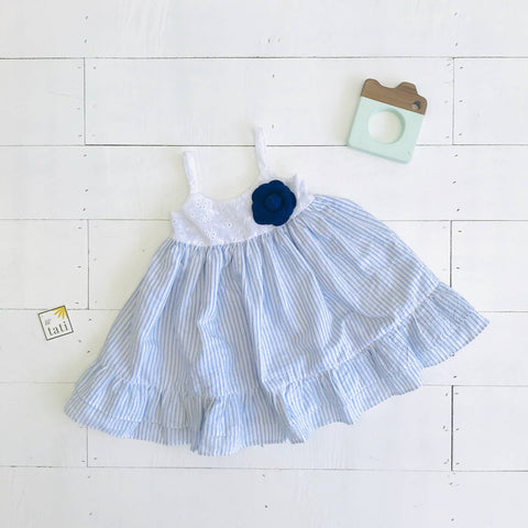 Dahlia Dress in White Eyelet and Placid Blue Stripes Linen