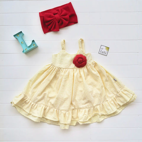 Dahlia Dress in Yellow Seersucker-Lil' Tati