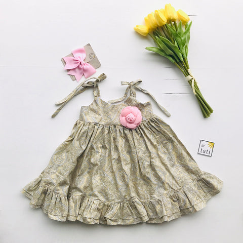 Dahlia Dress - Tie-Strap in Beige Paisley-Lil' Tati