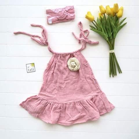 Daphne Dress in Crepe - Old Rose-Lil' Tati
