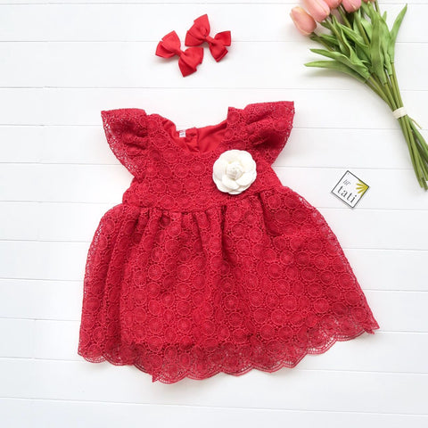 Lotus Dress in Elegant Circles Red Lace-Lil' Tati