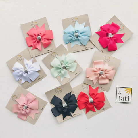 Silver Flower Bow Hair Clips