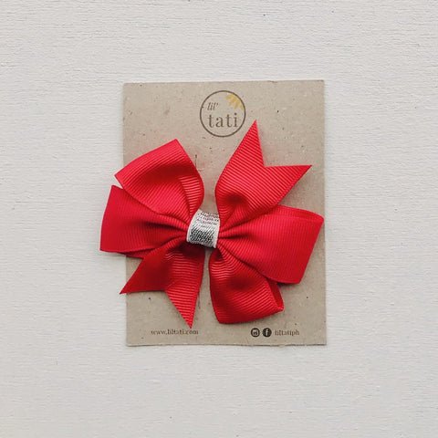 Silver Flower Bow Hair Clips-Lil' Tati