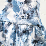 Holly Dress in Blue Feather Sateen-Lil' Tati